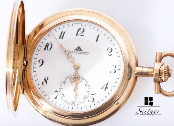 Deutsche Präzisionsuhr Original Glashütte Taschenuhr 585 Gold 1a Werk selten
