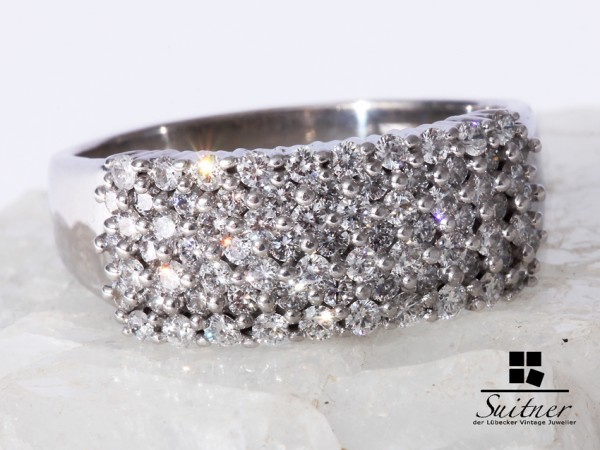 Ring 750 Weißgold Brillanten 1,40 ct. Gr 67 Wert 2000,- mit Expertise XL Ring VSI