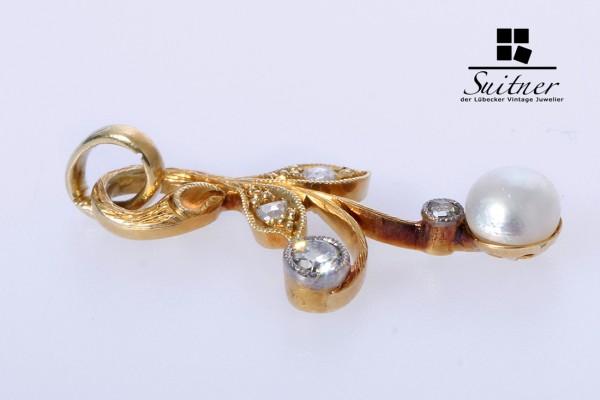 feiner Jugendstil Diamant Perlen Anhänger Altschliff Antik 585 Gold