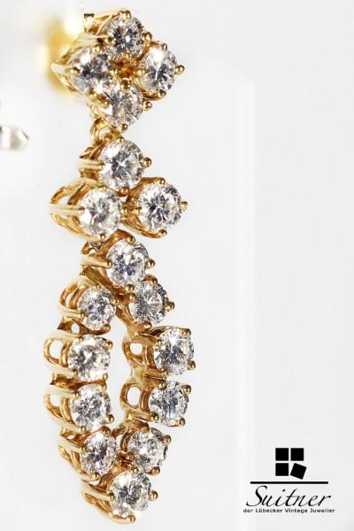 Paar Luxus Ohrhänger 34 Brillanten 3,20ct aus 585 Gold 8000,- Gutachten