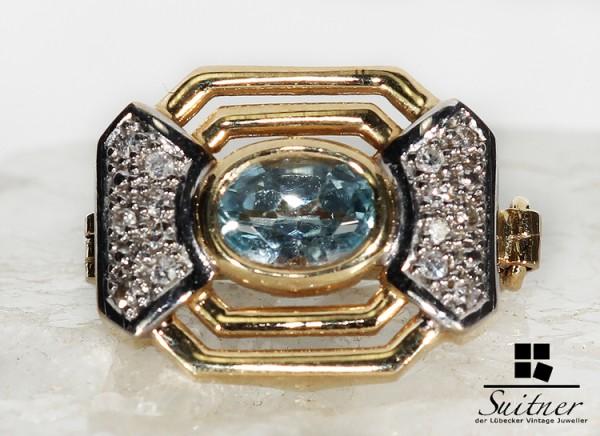 Perlen Clip aus 585 Gold mit Blautopas und 14 Diamanten