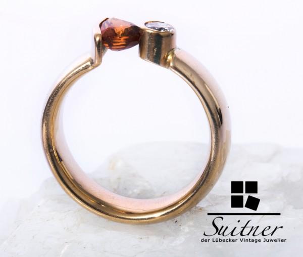 wertvoller Spannring mit Madeira Citrin und Brillant 585 Gold Gr. 53 Ring Design