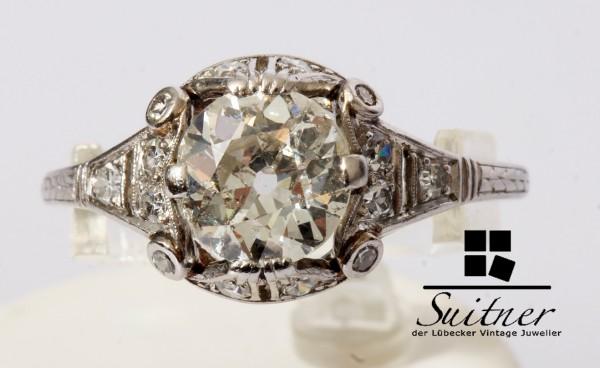 antiker 1,93ct. Diamant Ring aus 950 Platin Ring Altschliff Gr. 58,5 wertvoll