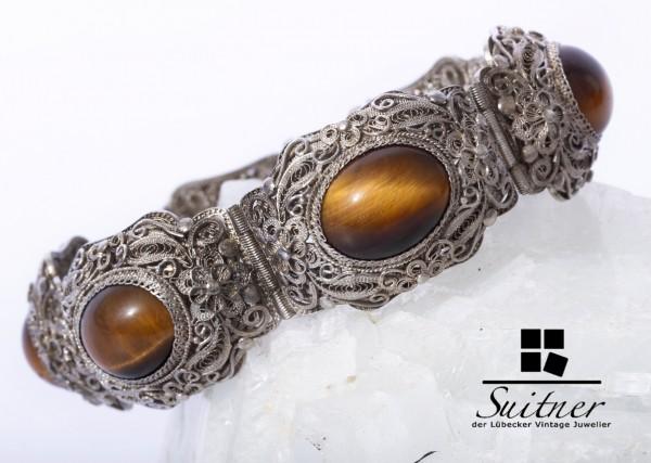antiker Filigranschmuck 925 Silber Armband Tigerauge 19cm Silver