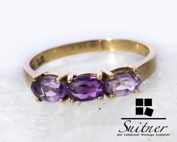 wunderschöner Amethyst Ring 585 Gold Gr. 58,5 Bandring Lila