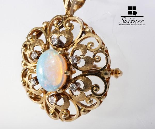 feiner Anhänger 750 Gold mit Crystal Opal und Brillanten