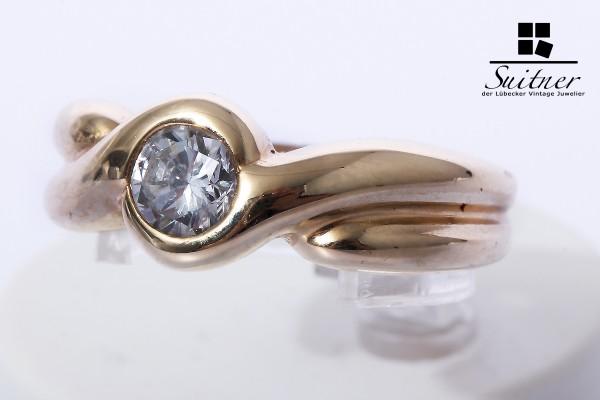 wertvoller Solitär Ring mit Brillant 0,59 ct. 585 Gold Gr. 53