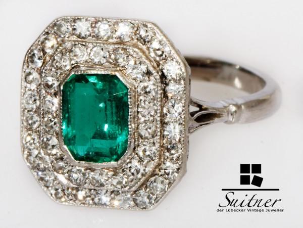 2,28ct. Art Deco Ring aus Platin mit Smaragd und Diamanten - antiker Luxus