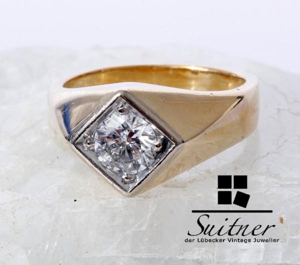 Solitär Brillant Herrenring 1,00 ct Ring 585 Gold Gr. 61 Wesselton G Farbe