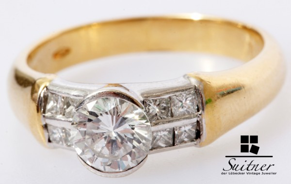 Luxus 1,00ct Brillant Ring aus 750 Gold Gr. 55 Moderner Verlobungsring