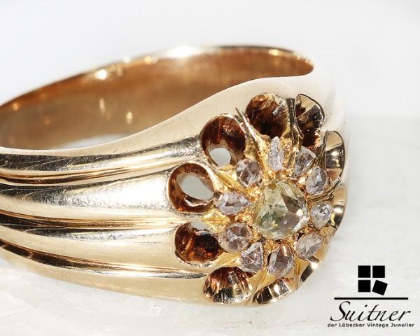 antiker russischer Herrenring aus Gold mit Diamanten - sehr massiver Ring