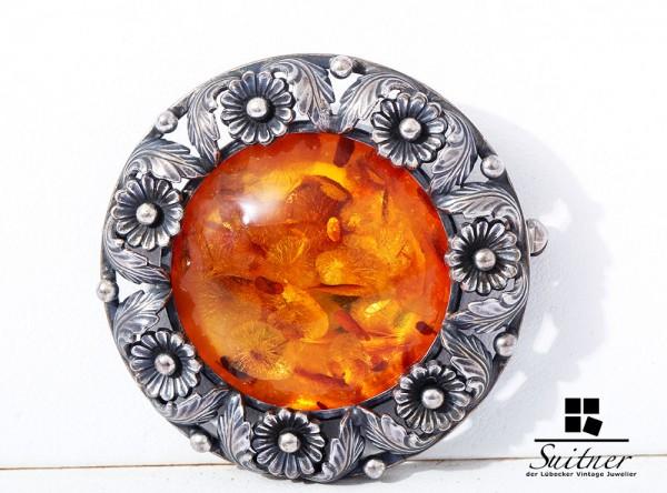 Niels Erik from Danmark Bernstein Brosche 925 Silber Amber Flower