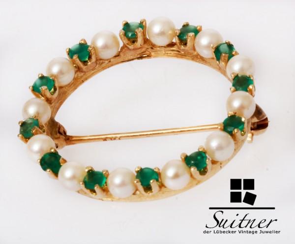 moderne Design Smaragd Perlen Brosche 585 Gold - rund Dekor