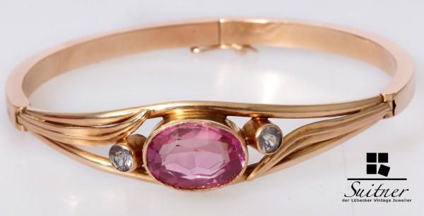seltener Armreif aus Russland 583 Roségold / Gold Pink Lila Steine