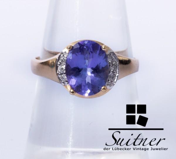Harry Ivens AAA Tansanit Diamant Ring 585 Gold Gr. 54 TV