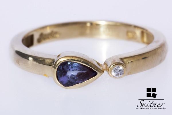 Tansanit Brillant Ring 585 Gold