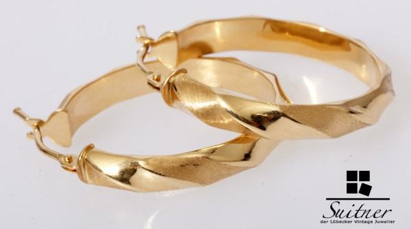 moderne Creolen aus 585 Gold gedrehtes Design Ohrschmuck