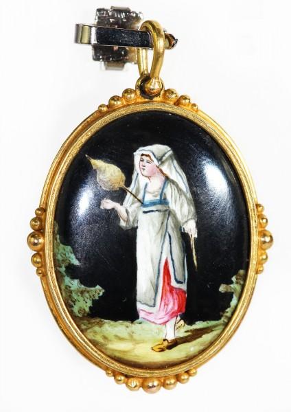 antikes Medaillon feine Lupenmalerei Emaille um 1860 585 Gold
