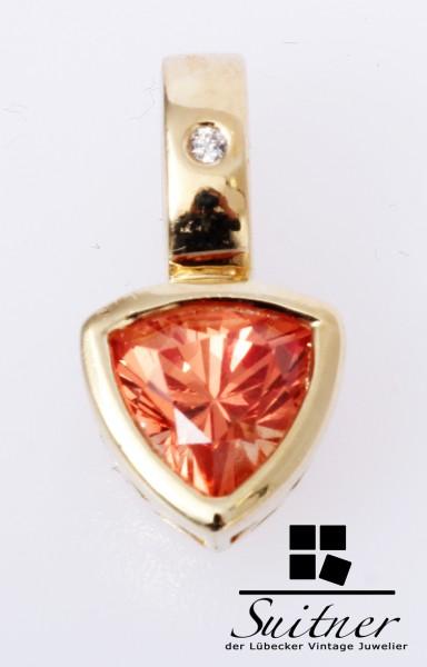 Mandarin Granat Anhänger im Triallion- Schliff Brillant 585 Gold