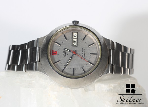 seltene Omega Seamster Electronic f300Hz Chronometer Day Date Cone 1260