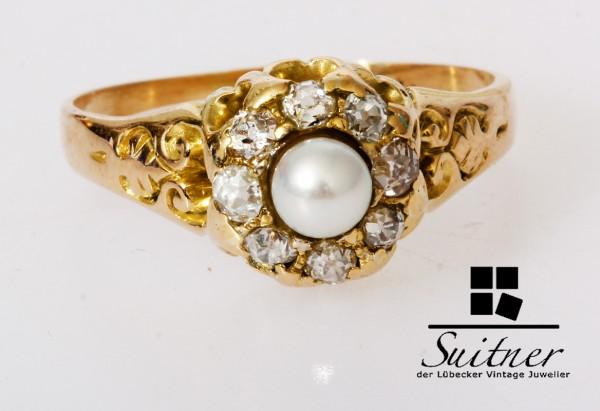 antiker Ring mit Diamanten und Naturperle aus 750 Gold Altschliff