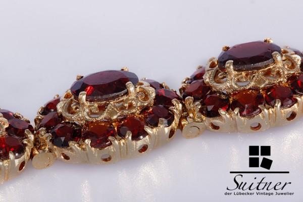klassisches Granat Armband 585 Gold Böhmen Bohemia 29,6gr.