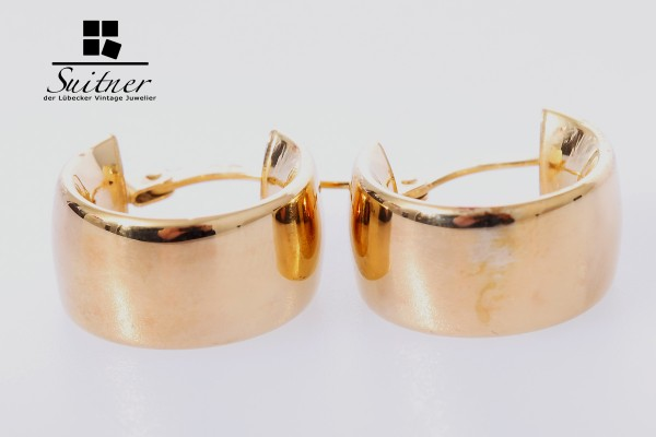 XL Creolen aus Gold - klassisch breit und toller Ohrschmuck - 375 Gold