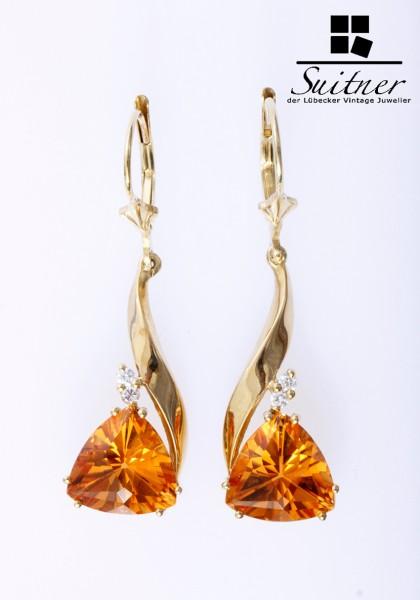 traumhafte Citrin Brillant Ohrhänger 585 Gold Honig Honey Farbe Triangel