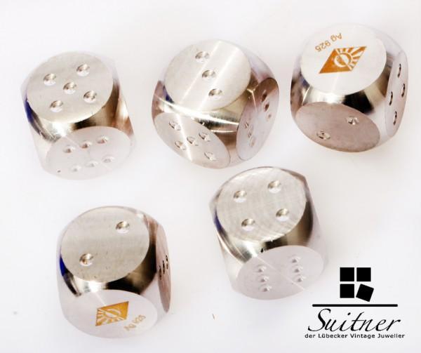 Degussa Luxus Silber Würfel 5 Stück 925er massiv Alea iacta est