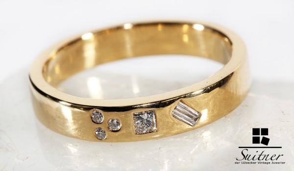 moderner Bandring 750 Gold mit vielen Diamanten Brillanten - Formen