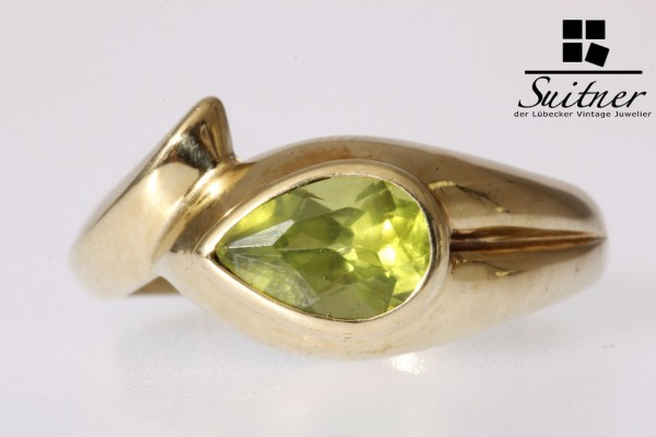Peridot Ring 375 Gold Gr. 58