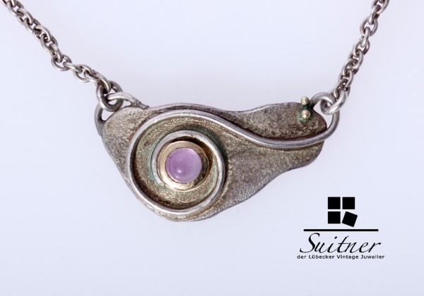 Schönes Designer-Collier aus 925er Silber mit Farbstein-Cabochon