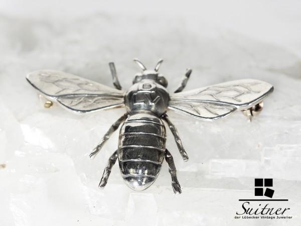 Silber Brosche DLV Frauen Fliege 835 Silber plastische Biene GreifenKunst