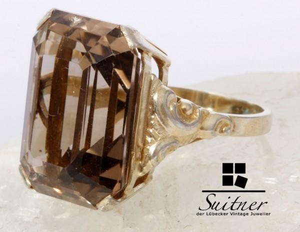 antiker Rauchquarz Ring Silber Gold Gr. 54 großer Stein - XL