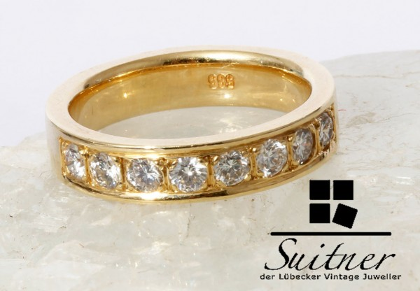 Brillant Memory Ring 585 Gold Gr. 53 Eternity Memorie Vorsteckring Luxus