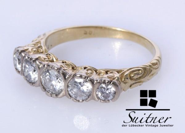Antiker 1,28ct. Diamant Ring 585 Gold Gr. 52 Jugendstil Art Nouveau
