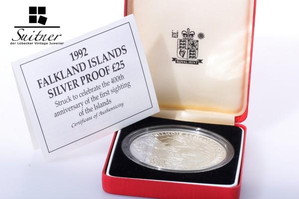 Falkland Inseln 5 Unzen Silber 1992 Etui Zertifikat PP 5oz Silver RAR