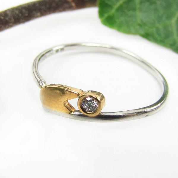 Platin Brillant Ring mit Gold Gr. 50 zierlich