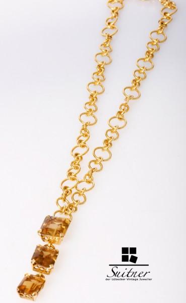 Unikat vom Goldschmied Citrin Collier 18,4ct 750 Gold 30,9 Gramm