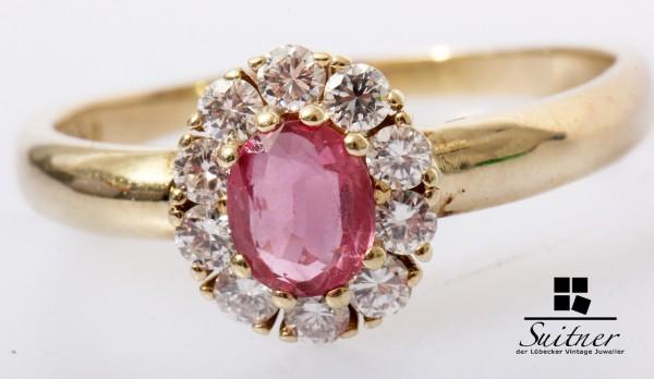 klassischer Rubin Brillant Ring 585 Gold Gr. 64 Burma Pink Rot