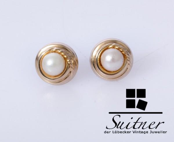 klassische Perlen Ohrstecker aus 333 und 585 Gold rundes Design