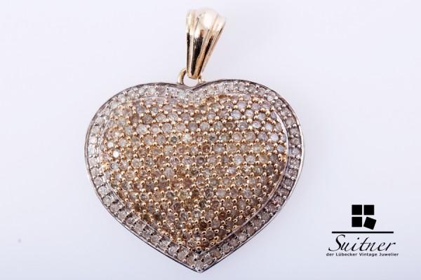 großer Herz Anhänger mit Diamanten ca. 1,20 ct. 585 Gold XXL