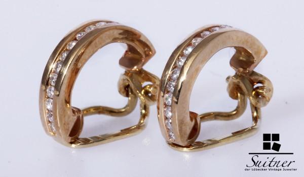 Ohrclips Halb-Creole mit je 12 Brillanten 585 Gold
