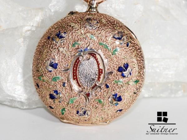 antike Taschenuhr aus 585 Gold mit Emaille Blumen Floral Jugendstil