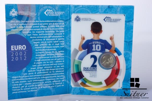 San Marino 2,- € 2012 R 10 Jahre Euro Originalverpackung Blister