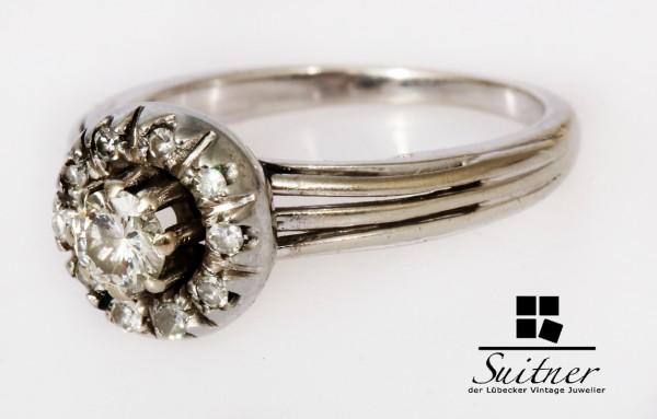 antiker Brillant Ring aus 750 Weißgold Gr. 50 Art Deco Stil Wiener Rose