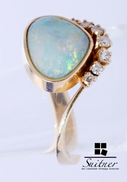 prächtiger Opal RIng mit Diamanten aus 585 Gold Gr. 53 Design
