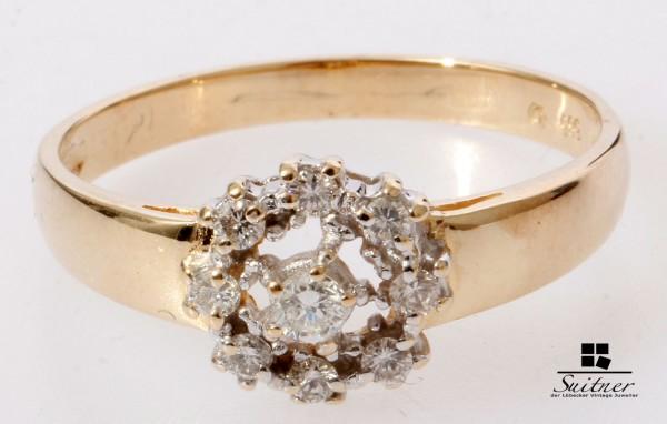 klassischer Entourage Brillant Ring aus 585 Gold RG 59