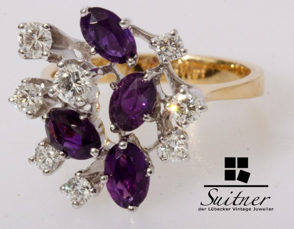 50er Jahre Cocktail Ring Amethyst Brillant ca. 0,71ct 750 Gold Gr. 57
