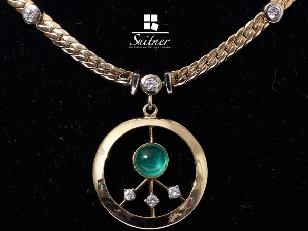 umwerfendes Collier mit Brillanten und Smaragd Handarbeit 585 Gold Luxus pur